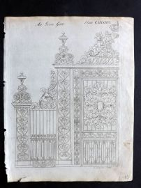 Langley 1777 Antique Architectural Print. An Iron Gate 186